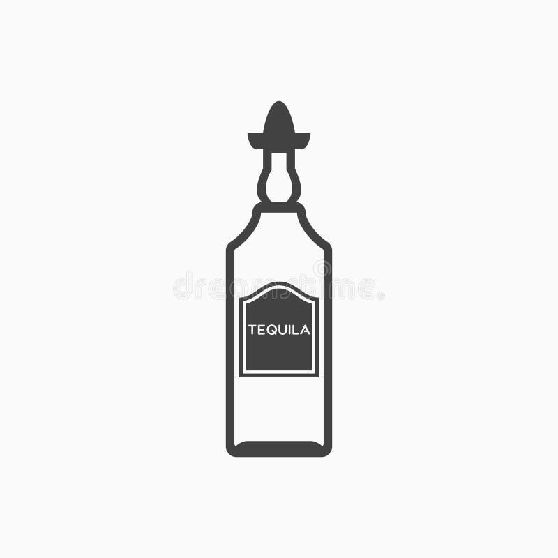 瓶龙舌兰酒黑白照片象 也corel凹道例证向量 皇族释放例证