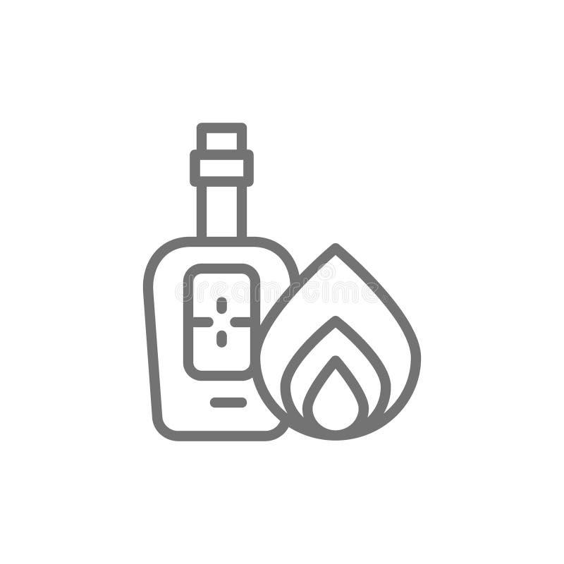 瓶龙舌兰酒,酒精线象 库存例证