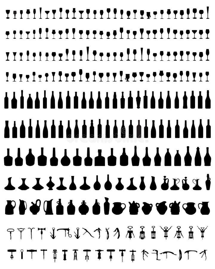瓶,玻璃,拔塞螺旋 皇族释放例证
