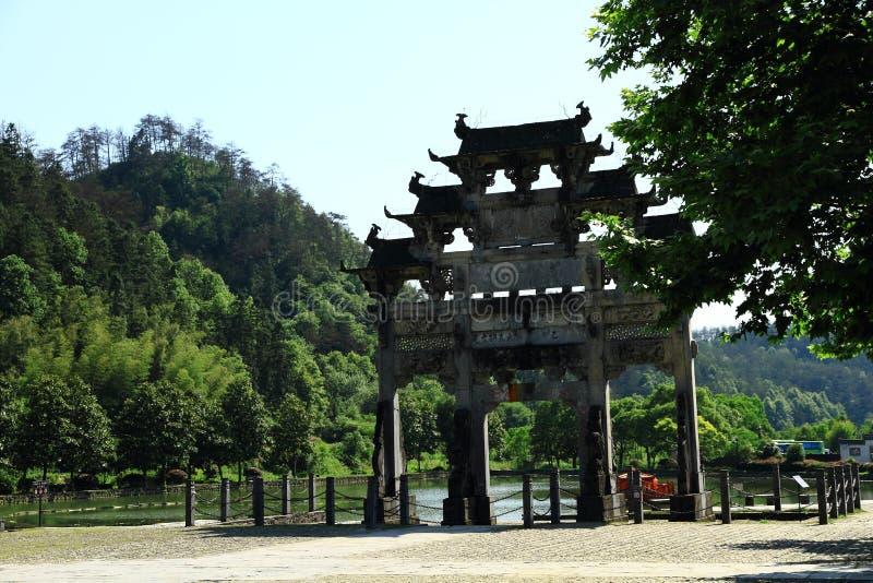 瓷入口门南对村庄xidi 免版税库存照片