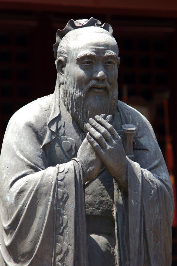 瓷孔子雕塑上海寺庙 免版税图库摄影