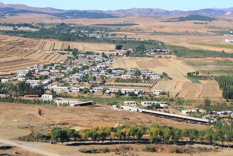瓷小的村庄 库存照片
