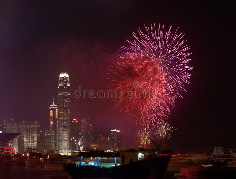 瓷日烟花香港国民 免版税库存照片