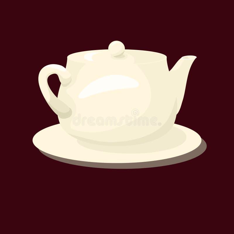 瓷白色茶壶 做在动画片平的样式 皇族释放例证