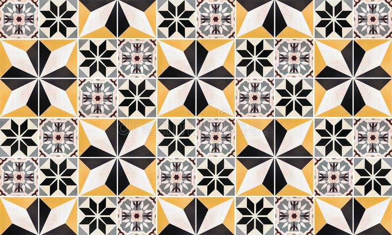 瓷砖内部家的墙壁背景 五颜六色的葡萄酒陶瓷水泥瓦片纹理或样式和墙纸 地板  库存图片