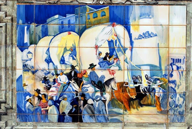 瓷砖图片在广场de西班牙,塞维利亚,西班牙 库存图片