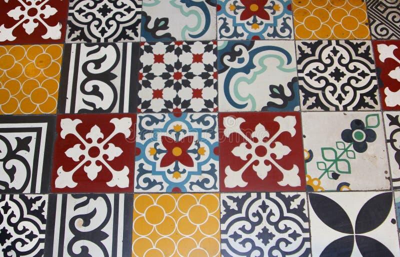瓷砖样式内部,福建礼堂,会安市,越南 库存照片