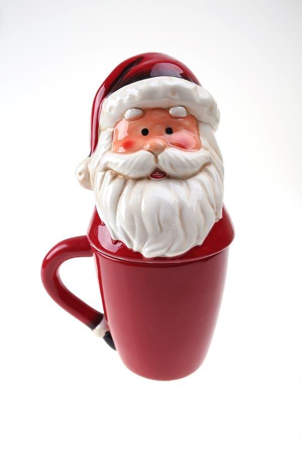 瓷红色圣诞老人杯 库存图片