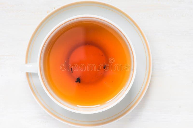 瓷茶杯顶视图 免版税库存图片