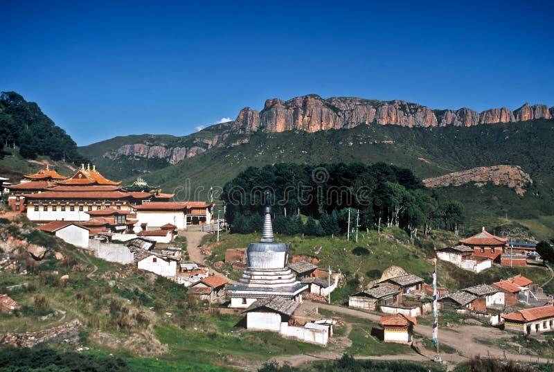 瓷西藏人村庄 库存照片