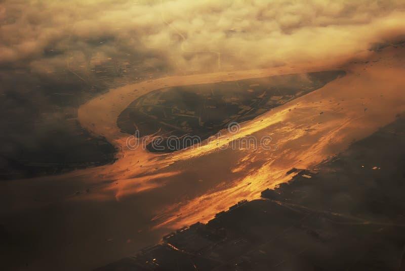 瓷co俯视的河扬子 免版税图库摄影