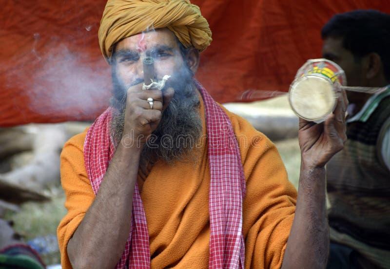 甘加Sagar梅拉或市场是全部从喜马拉雅山的sadhus会集的地方 图库摄影