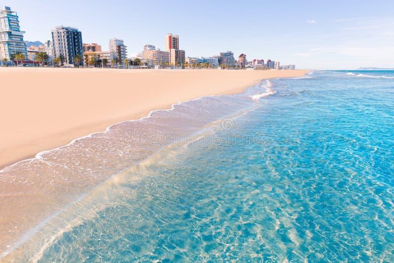 甘迪亚海滩在巴伦西亚地中海西班牙 免版税库存图片