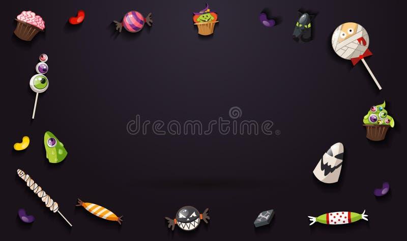 甜万圣夜橙色背景用飞行糖果和倒空 向量例证