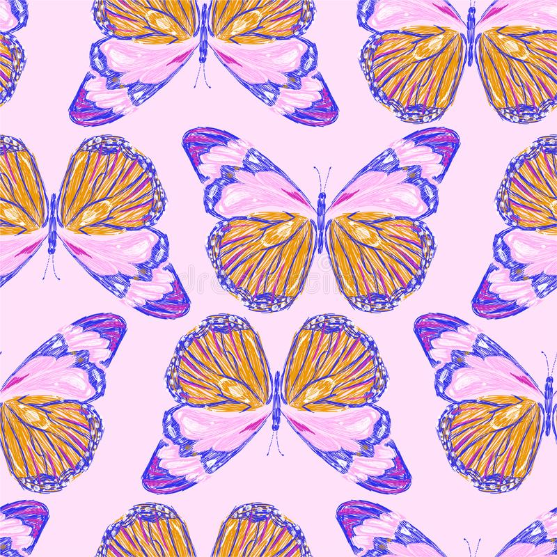 甜五颜六色的蝴蝶的刺绣无缝的样式 传染媒介绣了时尚佩带,织品的,墙纸设计和 向量例证