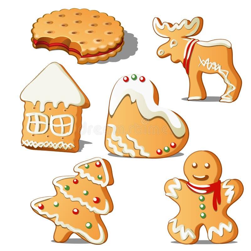 甜假日烘烤 曲奇饼以星的形式,房子,圣诞树,心脏,驯鹿,有结冰的姜饼人 皇族释放例证