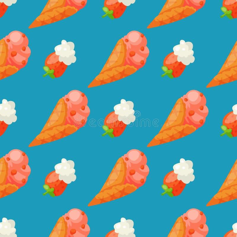 甜冰淇凌传染媒介无缝的样式背景鲜美动画片结冰的可口动画片五颜六色的icream点心 皇族释放例证