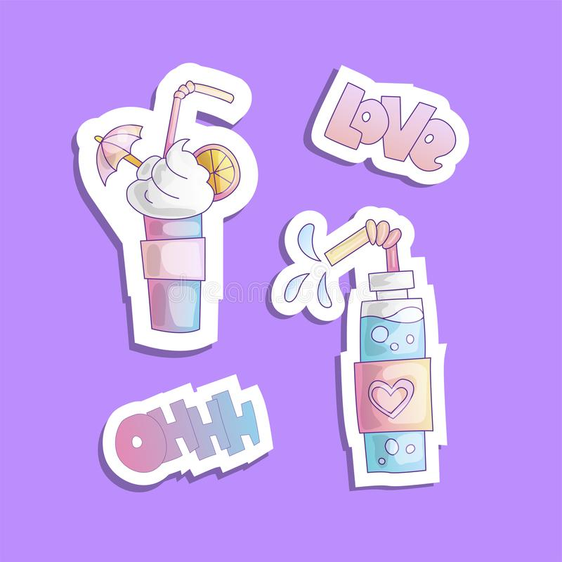 甜动画片鸡尾酒,传染媒介贴纸例证 与甜泡沫的蓝色和桃红色甜鸡尾酒,词爱和ohh 向量例证