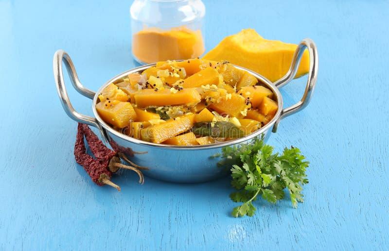 甜南瓜咖喱印地安素食食物 库存图片