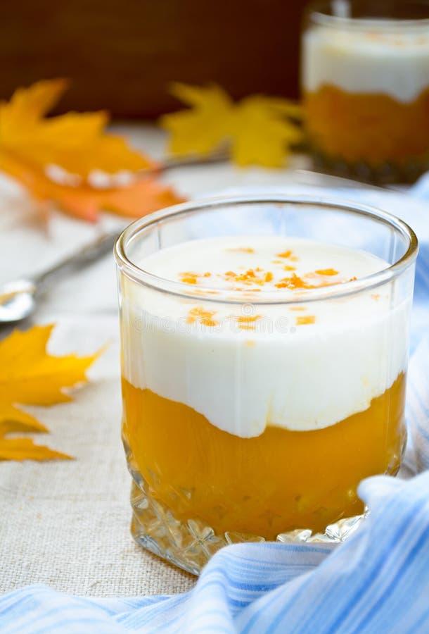 甜南瓜奶油圆滑的人和厚实的希腊yougurt 库存照片