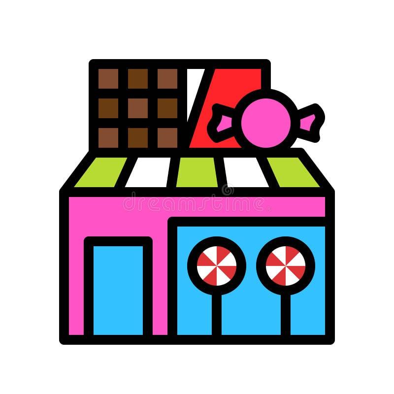 甜商店传染媒介例证,填装了样式象编辑可能的概述 皇族释放例证
