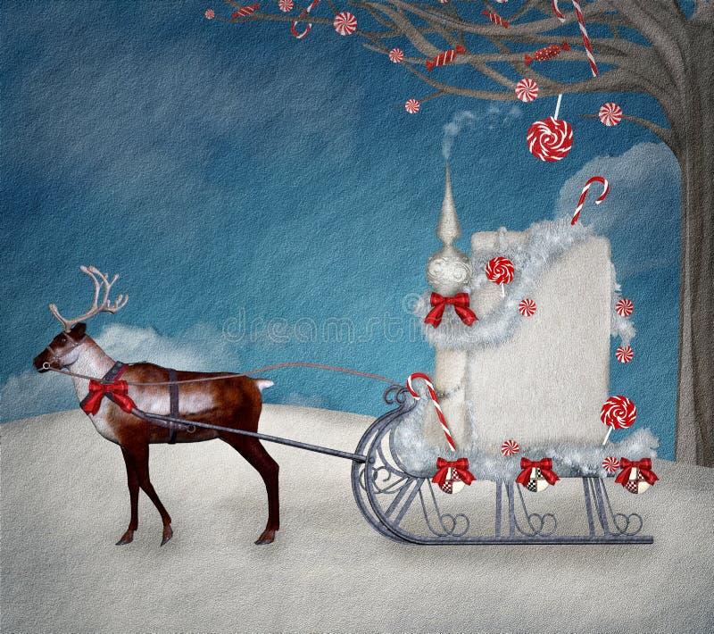 甜圣诞节雪橇 皇族释放例证