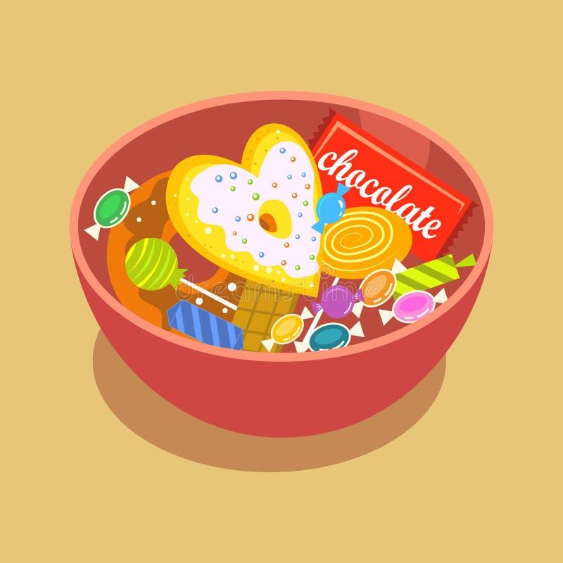 甜在圈子形状设置的糖果平的象与被分类的巧克力五颜六色的棒棒糖的隔绝了传染媒介例证 向量例证