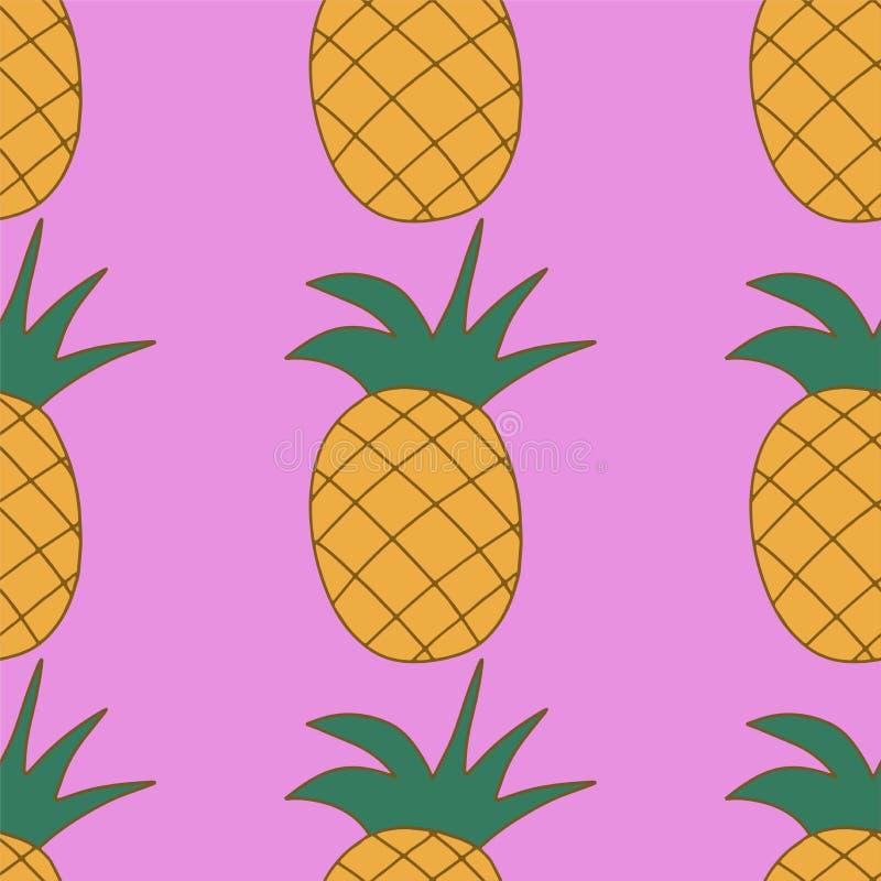 甜在桃红色背景的果子水多的菠萝,无缝的样式 皇族释放例证