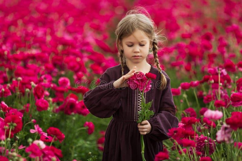 甜女孩在有狂放的春天花的一个草甸 免版税图库摄影