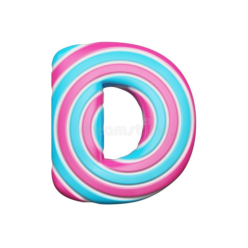甜字母表信件D 圣诞节字体由桃红色和蓝色螺旋制成镶边了棒棒糖 3d在空白背景回报查出 皇族释放例证