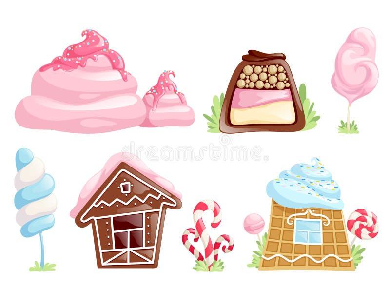 甜对象 焦糖巧克力糖比赛动画片点心传染媒介汇集的幻想元素 向量例证