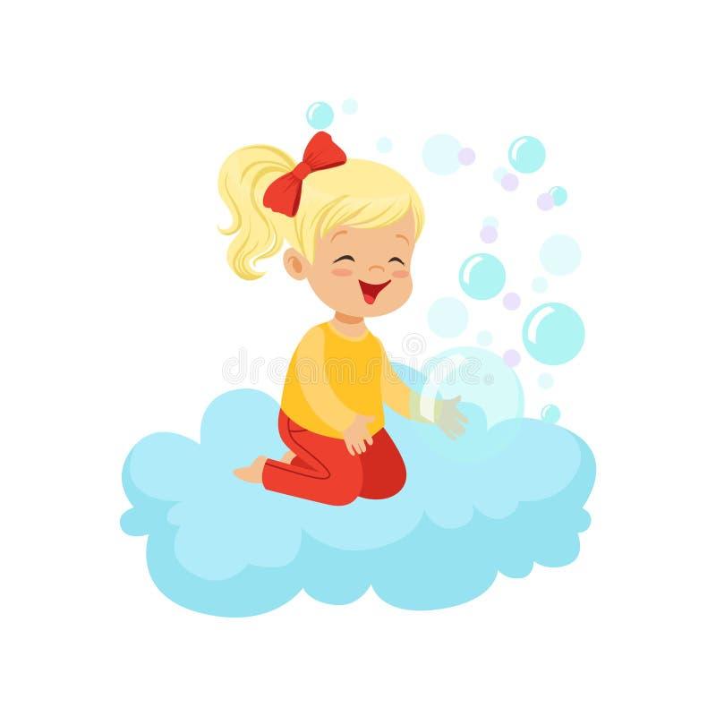甜小女孩坐使用与肥皂泡的云彩,孩子想象力和梦想导航例证 库存例证