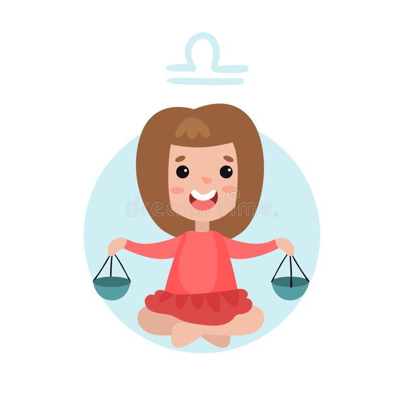 甜小女孩当天秤座占星术标志,占星黄道带字符五颜六色的动画片例证 库存例证