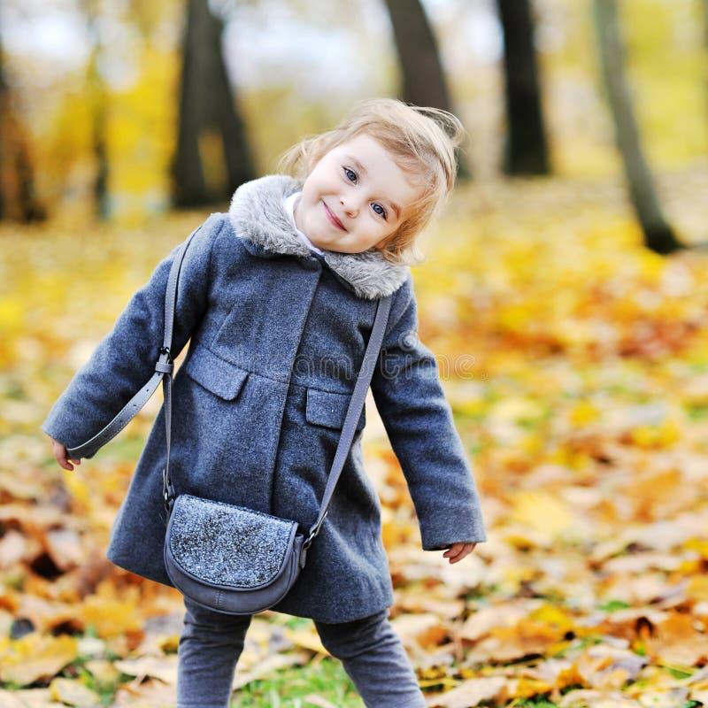 甜小女孩画象在秋天公园 库存图片