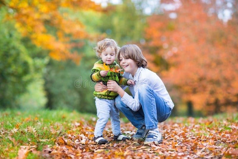 甜小孩女孩和她的兄弟在秋天停放 免版税库存照片