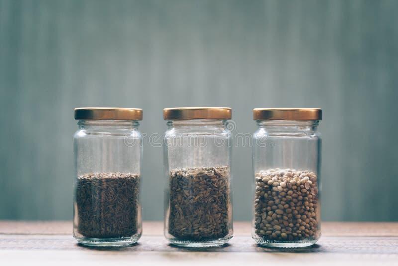 甜小茴香、白色小茴香和芫荽子在一个玻璃瓶子 库存照片