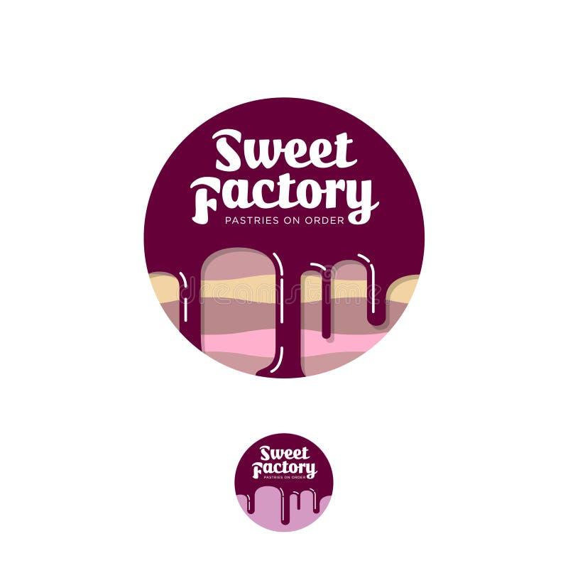 甜工厂商标 酥皮点心象征 结块用巧克力和信件在圈子 皇族释放例证