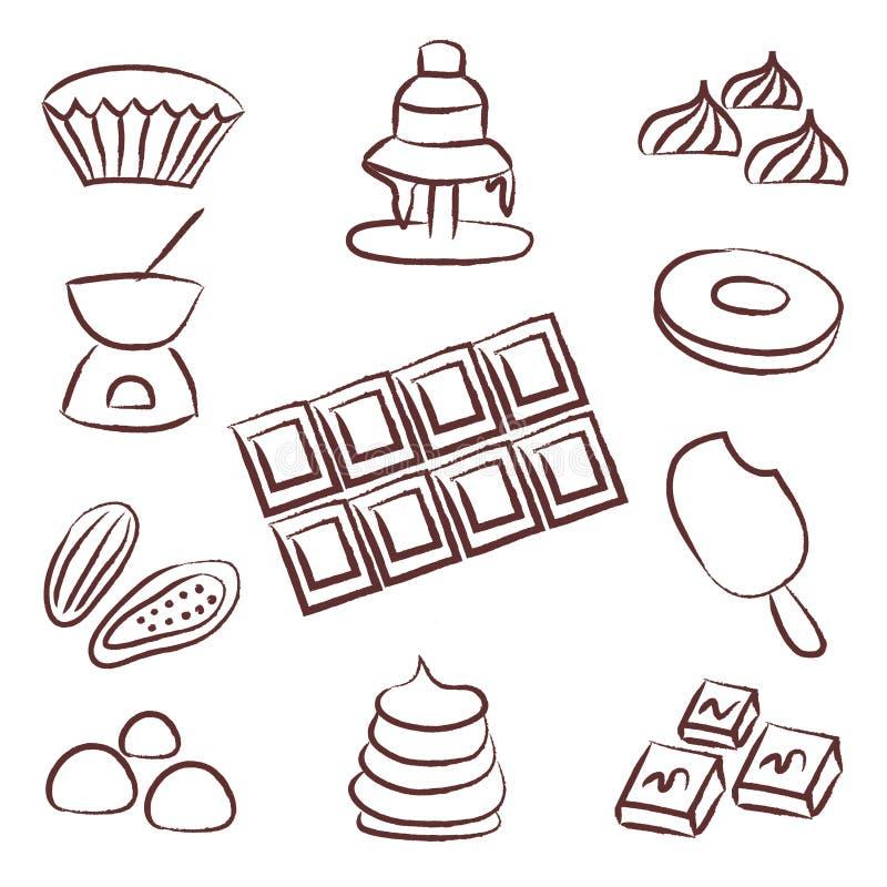 甜巧克力乱画被设置的剪影象图片