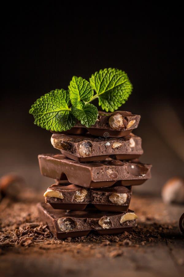 甜巧克力点心宏观的部分 免版税库存图片