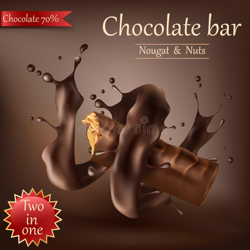 甜巧克力酒吧用螺旋熔化巧克力 皇族释放例证
