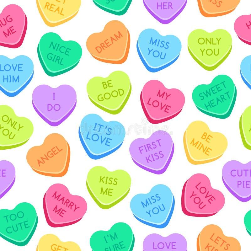 甜心糖果样式 五颜六色的华伦泰心脏,爱交谈糖果和甜心糖果无缝的传染媒介 库存例证