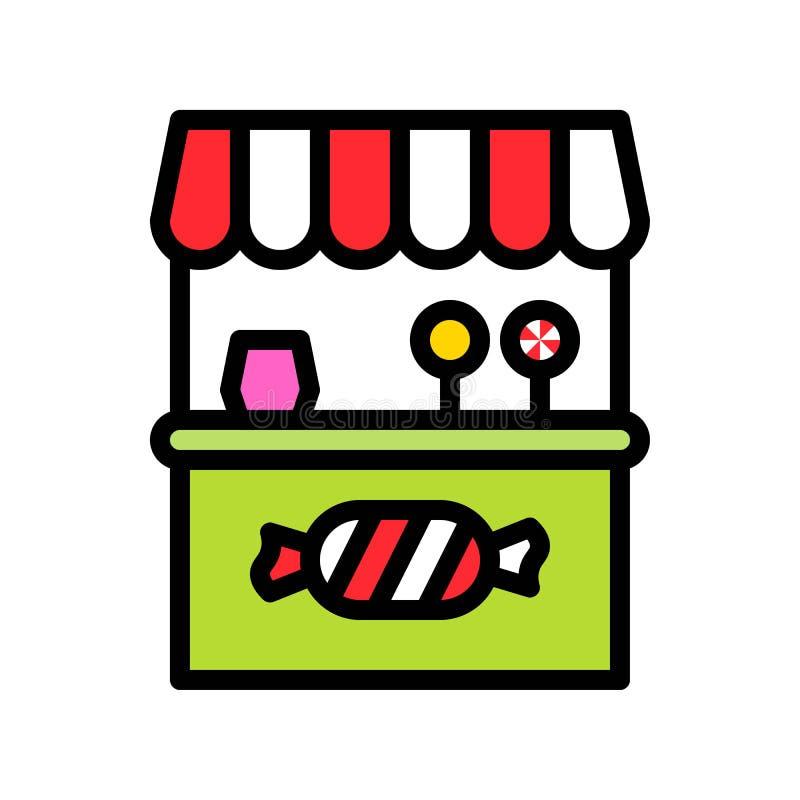 甜摊位传染媒介例证,填装了样式象编辑可能的概述 库存例证