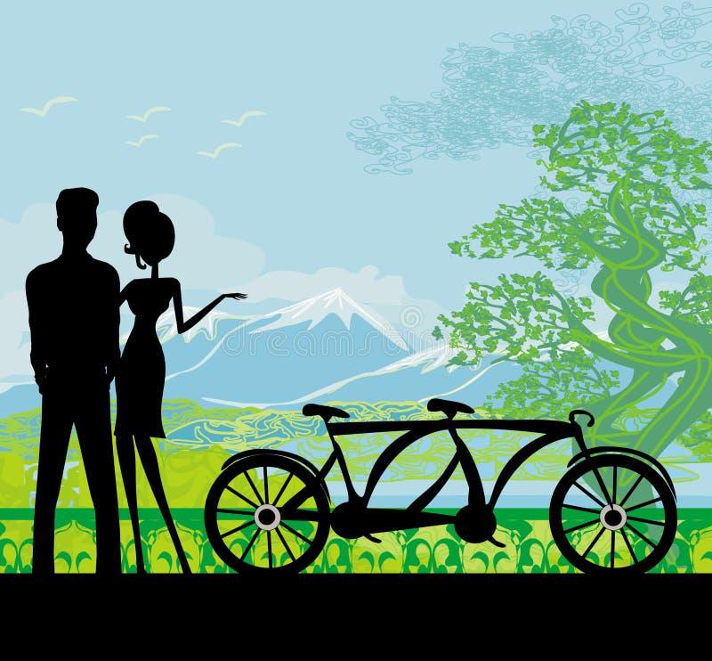 甜新夫妇Sillhouette在突出在公园的爱的 皇族释放例证