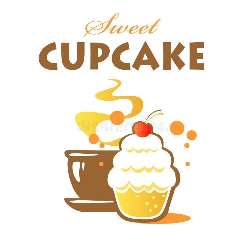 甜杯形蛋糕和茶 向量例证