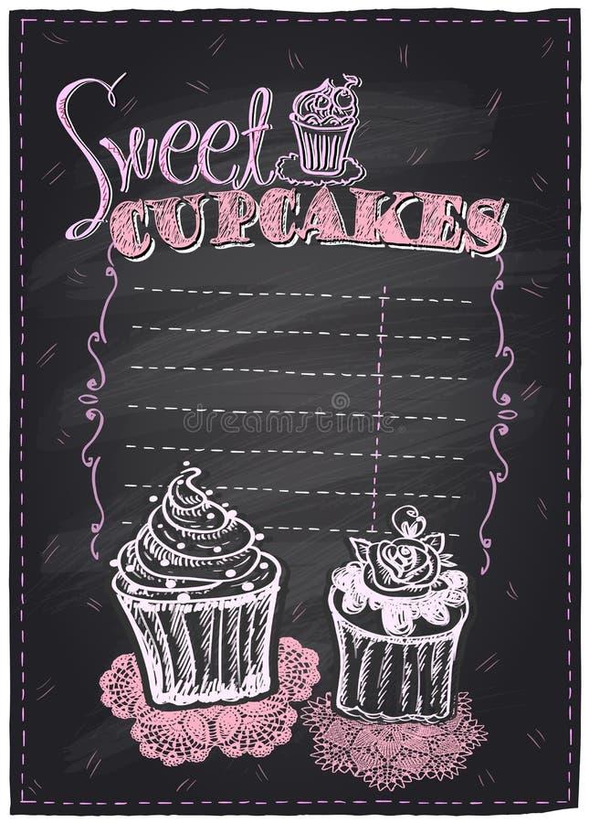 甜杯形蛋糕黑板 向量例证