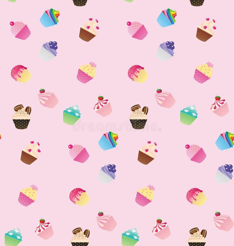 甜桃红色杯形蛋糕无缝的样式 库存例证