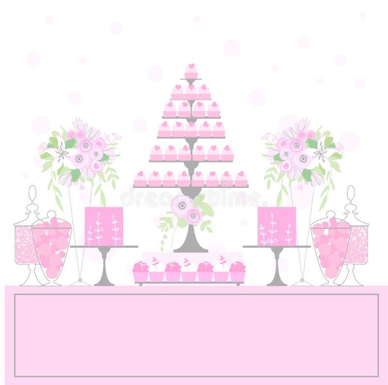 甜桌用杯形蛋糕 图库摄影