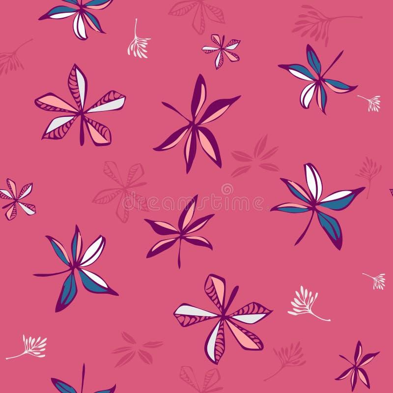 甜植物的乱画叶子 时尚的,织品,墙纸,所有印刷品手拉的无缝的样式传染媒介设计 向量例证