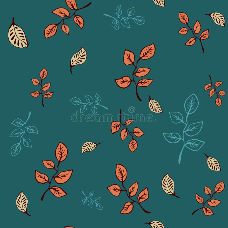 甜植物的乱画叶子 时尚的,织品,墙纸,所有印刷品手拉的无缝的样式传染媒介设计 皇族释放例证