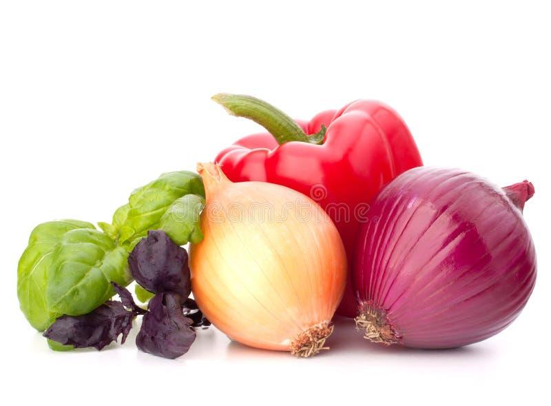 甜椒、葱、蕃茄和蓬蒿叶子静物画 库存照片